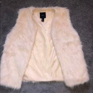 Forever 21 Pale pink oversized fur vest